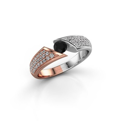 Foto van Ring Hojalien 3 585 rosé goud zwarte diamant 0.671 crt