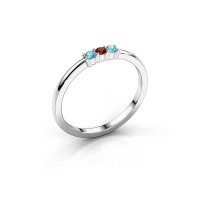 Verlovings ring Yasmin 3 585 witgoud granaat 2 mm