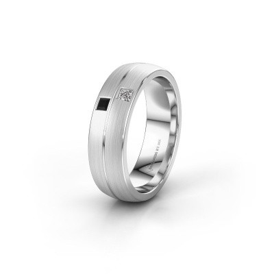 Wedding ring WH0250L26BM 585 white gold black diamond ±0.24x0.08 in