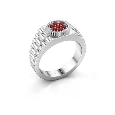 Foto van Rolex stijl ring Nout 925 zilver robijn 2 mm