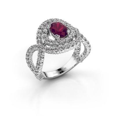 Ring Chau 950 platina rhodoliet 7x5 mm