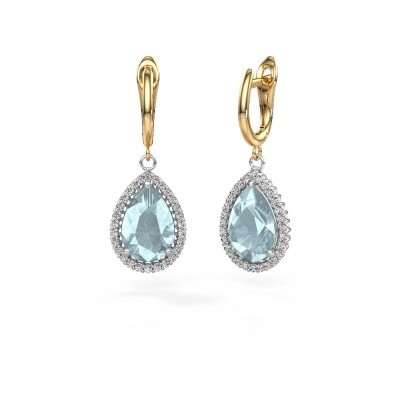 Drop earrings Hana 1 585 white gold aquamarine 12x8 mm