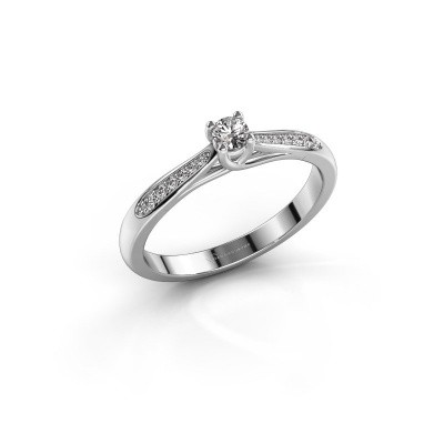 Photo de Bague de fiançailles Mia 2 585 or blanc diamant 0.08 crt