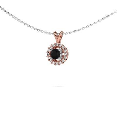 Foto van Hanger Tennille 585 rosé goud zwarte diamant 0.42 crt