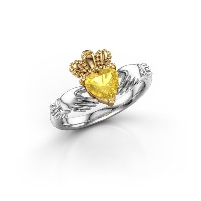 Foto van Ring Claddagh 2 585 witgoud gele saffier 6 mm