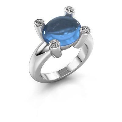 Ring Janice OVL 950 platinum blue topaz 12x10 mm