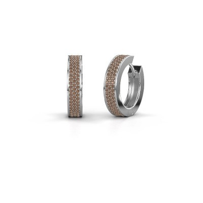 Creolen Renee 6 12 mm 925 zilver bruine diamant 1.12 crt