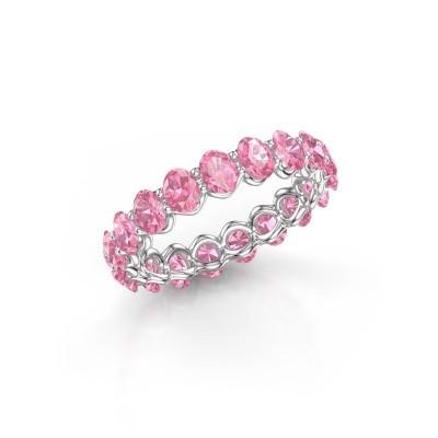 Ring Kirsten OVL 4x3 585 witgoud roze saffier 4x3 mm