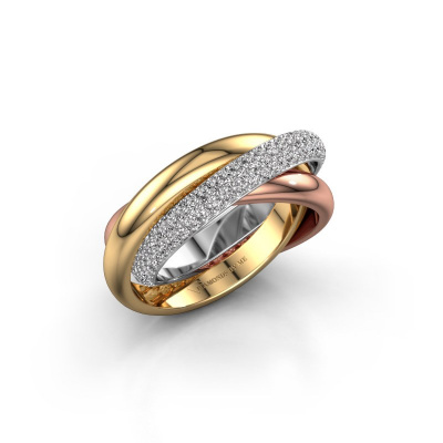 Foto van Ring Trinity 2 585 witgoud diamant 0.885 crt