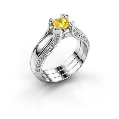 Engagement ring Nadine 950 platinum yellow sapphire 5 mm
