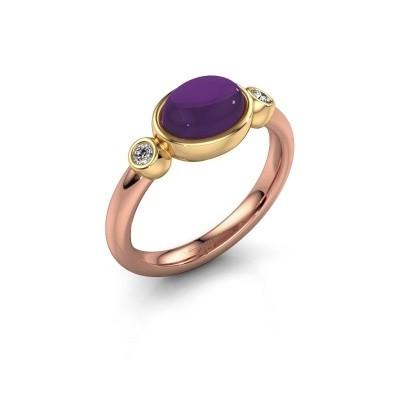 Ring Liane 585 rosé goud amethist 8x6 mm