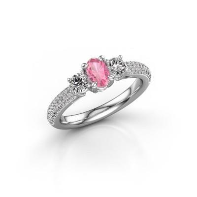 Foto van Verlovingsring Marielle OVL 950 platina roze saffier 6.5x4.5 mm