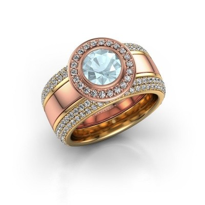 Picture of Ring Roxie 585 rose gold aquamarine 6.5 mm