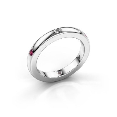 Stackable ring Charla 375 white gold zirconia 2 mm
