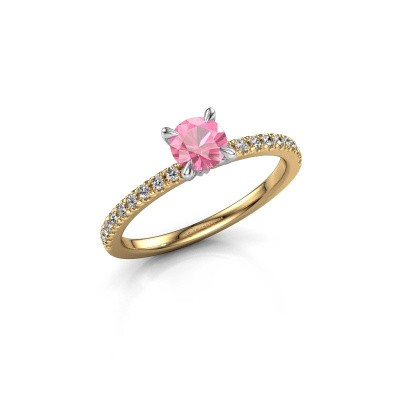 Foto van Verlovingsring Crystal rnd 2 585 goud roze saffier 5 mm