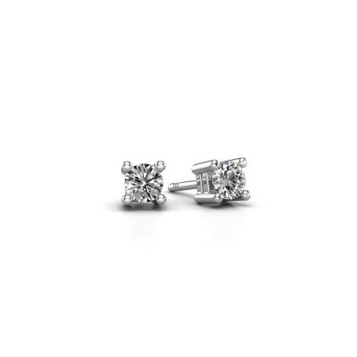 Photo de Clous d'oreilles Eline 585 or blanc diamant 0.25 crt