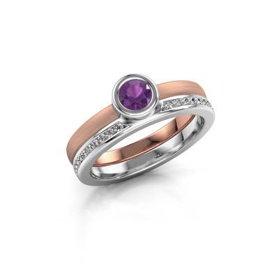 Foto van Ring Cara 585 rosé goud amethist 4 mm