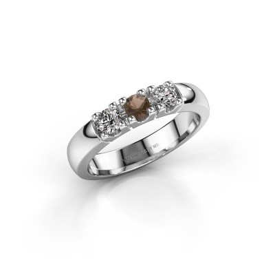 Engagement ring Rianne 3 585 white gold smokey quartz 3.4 mm
