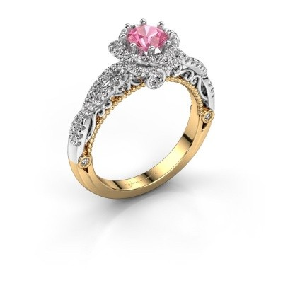 Engagement ring Lysanne 585 gold pink sapphire 5 mm