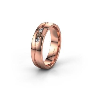 Wedding ring WH0172L25A 375 rose gold smokey quartz ±0.20x0.07 in