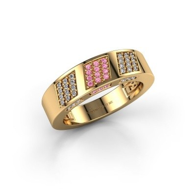 Ring Jessika 375 goud roze saffier 1.1 mm