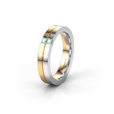 Trouwring WH0225L14B 585 goud aquamarijn ±4x2 mm