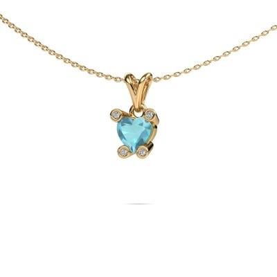 Foto van Ketting Cornelia Heart 375 goud blauw topaas 6 mm