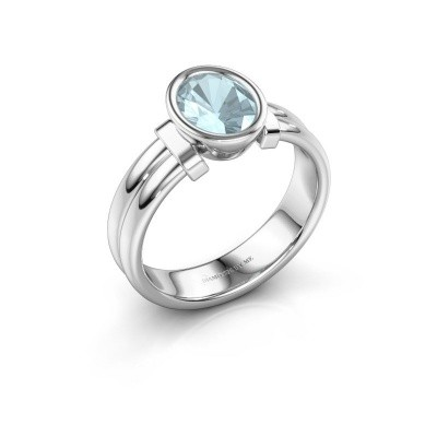 Ring Gerda 925 silver aquamarine 8x6 mm