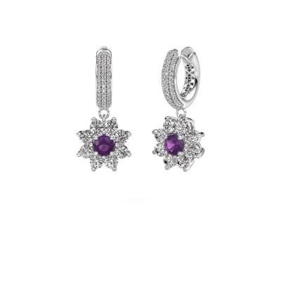 Picture of Drop earrings Geneva 2 950 platinum amethyst 4.5 mm
