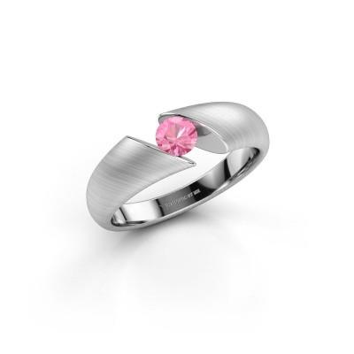 Foto van Ring Hojalien 1 950 platina roze saffier 4.2 mm