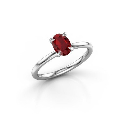 Picture of Engagement ring Crystal OVL 1 585 white gold ruby 7x5 mm