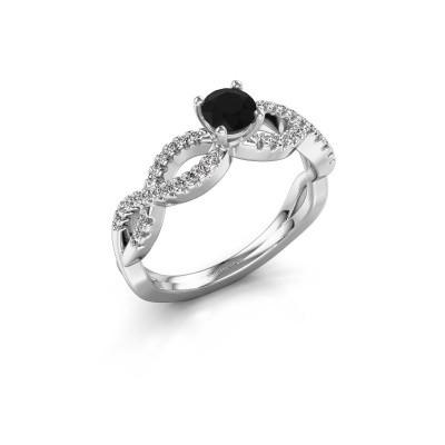 Verlovingsring Hanneke 585 witgoud zwarte diamant 0.48 crt