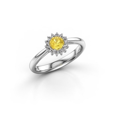 Picture of Engagement ring Mariska 1 585 white gold yellow sapphire 4.2 mm