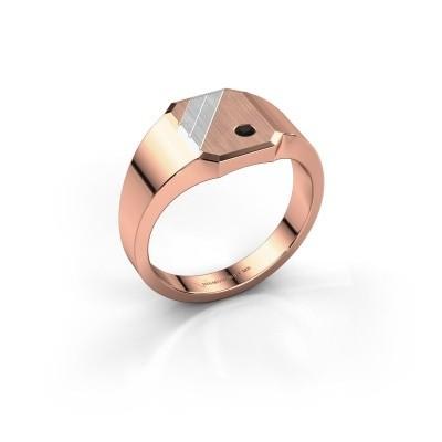 Foto van Zegelring Patrick 1 585 rosé goud zwarte diamant 0.036 crt
