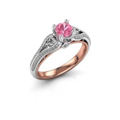 Foto van Verlovingsring Nikita 585 rosé goud roze saffier 5 mm