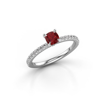 Picture of Engagement ring Crystal CUS 2 925 silver ruby 5 mm