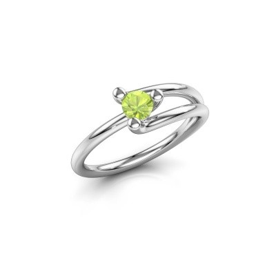 Engagement ring Roosmarijn 925 silver peridot 4 mm