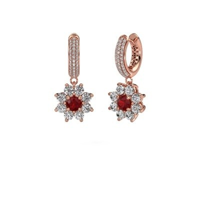 Picture of Drop earrings Geneva 2 375 rose gold ruby 4.5 mm