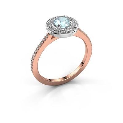 Ring Agaat 2 585 rosé goud aquamarijn 5 mm