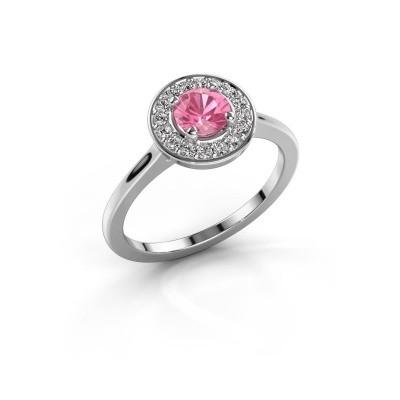 Foto van Ring Agaat 1 925 zilver roze saffier 5 mm