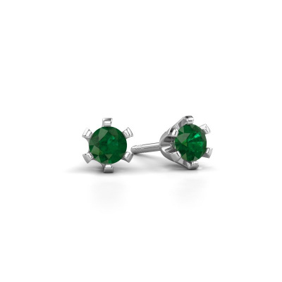 Oorstekers Shana 585 witgoud smaragd 4 mm