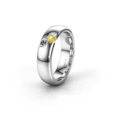 Wedding ring WH1003L26C 585 white gold yellow sapphire ±0.24x0.09in