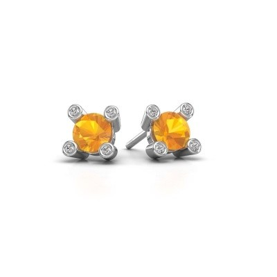 Picture of Stud earrings Cornelia Round 925 silver citrin 6 mm