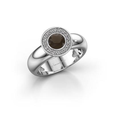 Stacking ring Anna 925 silver smokey quartz 5 mm