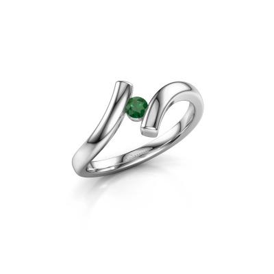 Foto van Ring Amy 585 witgoud smaragd 3 mm