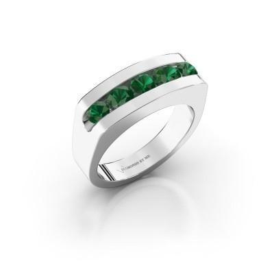 Foto van Heren ring Richard 375 witgoud smaragd 4 mm