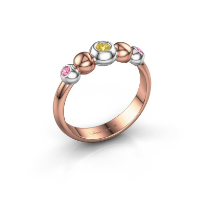 Stackable ring Lily 585 rose gold yellow sapphire 2.5 mm