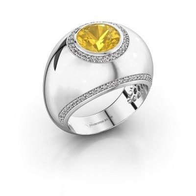 Ring Roxann 925 zilver gele saffier 8 mm