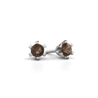 Picture of Stud earrings Shana 950 platinum smokey quartz 4 mm