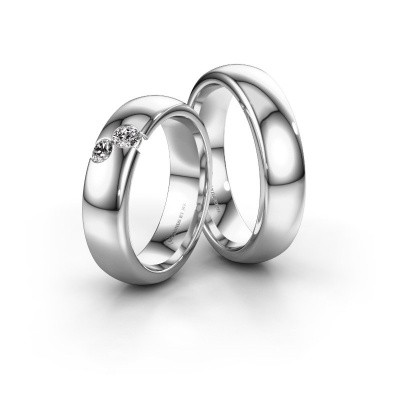 Picture of Wedding rings set WH1003LM26CP ±6x2.2 mm 14 Carat white gold diamond 0.10 crt